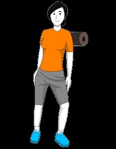 Übung für die Schulter ausgeführt mit der Faszienrolle / Blackroll.