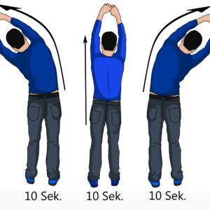 1. Übung: Strecken und Dehnen der Wirbelsäule und der Oberkörpermuskulatur.