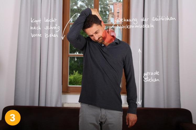 Ziehe nun den Kopf sanft schräg nach unten, so dass du eine deutliche Dehnung in der seitlichen Nackenmuskulatur verspürst. Halte diese für 1 bis 2 Minuten pro Seite.