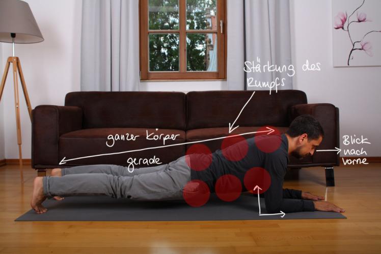 Lege dich auf den Boden und hebe deinen Körper kerzengerade mit aufgestellten Füßen und angewinkelten Armen ab. Der Rücken, die Beine und der Kopf bilden eine Linie. Der Blick geht nach vorne. Nun versuchst du so lange wie möglich diese statische Position zu halten, ohne dass den Körper durchhängt. Die steife Position ist das Ziel. Wenn du diese nicht mehr halten kannst, musst du eine Pause machen. 2 Minuten sollten das Ziel sein, mit dem du langfristig zufrieden sein kannst.