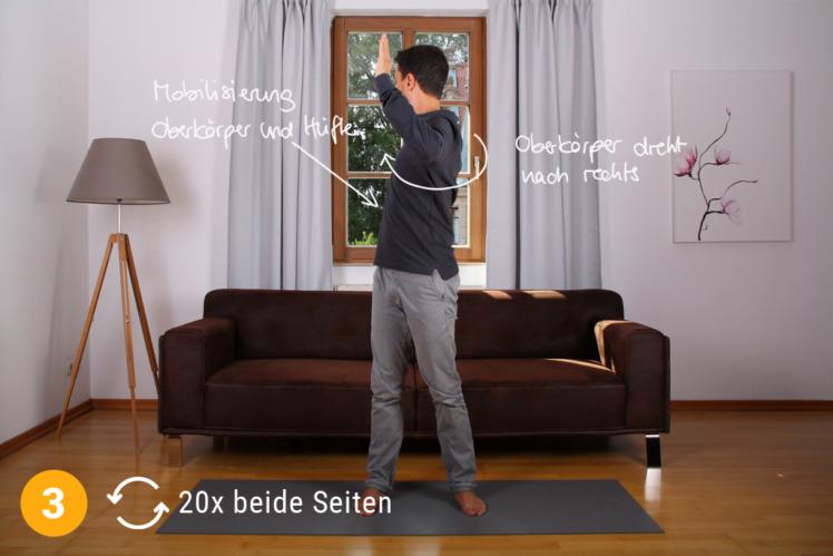 Nun bewegst du dich mit dem Oberkörper in die entgegengesetzte Richtung und verharrst dort erneut 2-3 Sekunden. Wiederhole jede Seite ca. 20x.