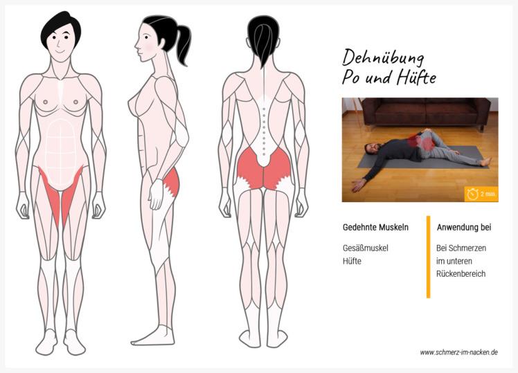 Mit dieser einfachen Übung kannst du deine Rückenschmerzen minimieren, indem du den Po und die Hüfte sanft aufdehnst.