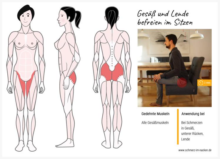 Ebenfalls im Sitzen lässt sich mit dieser Übung sowohl der Lendenbereich, als auch der Gesäßmuskel aufdehnen und Rückenschmerzen lindern