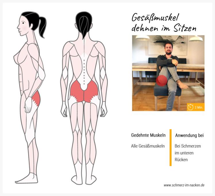 Eine sehr effektive Übung gegen Schmerzen im unteren Rückenbereich ist die Dehnung des Po-Muskels im Sitzen