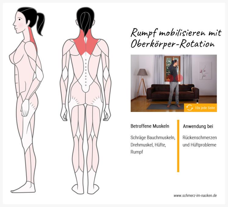 Einfach und effektiv: Die Rotationsbewegung mobilisiert den kompletten oberen Rumpf deines Körpers und hilft bei Schmerzen im oberen Rücken